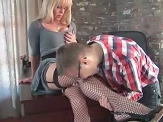 Blonde TS and Guy in office
