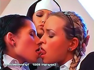 Non-English. A nun disciplines 3 girls with spanking, candles wax, double...