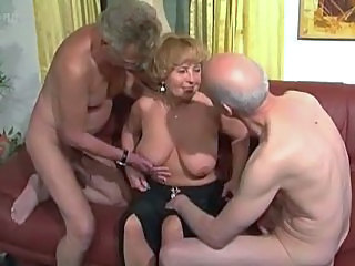 Older Natural Threesome Grandma
