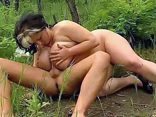 Look what this crazy naked couple is doing in the deep forest!