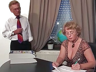 Office Natural Secretary Boss Glasses Mature Mature Ass