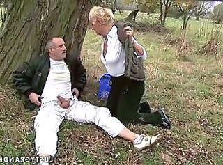 Hot grandma getting fucked outdoor