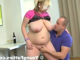 Little chap licks Sensuous blonde chubby's giant racks