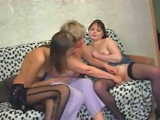 Two Horny Grannies In Lesbian Threesome Action With A Young Cutie