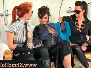 Strapped Girls Give Horny Friend Bukkake