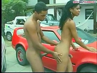 Brazil shemale fucking on a red car hood  free