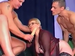 Toy Threesome Glasses Granny Young Lingerie Old And Young
