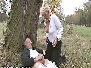 Public Outdoor Blonde Granny Blonde Outdoor Public