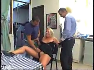 Wife BBW cuckold with 2 men