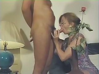 French MILF sucks his cock and