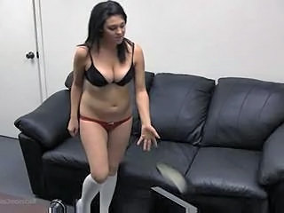 Brunette serving cock after casting