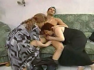 2 grandmas enjoy a hunk and his cock.  Sex Tubes