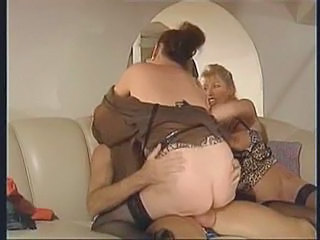 French Threesome Riding European French Granny Stockings