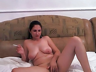 Masturbating Saggytits Smoking