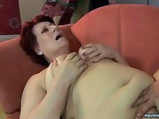 Fat granny enjoys hard sex with young guy