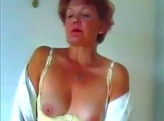 Granny in Pantyhose Dildo Play