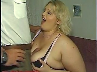 Fat blonde woman fucks guy