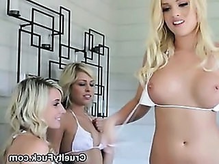 Three Gorgeous Blondes In Bikinis Sucking One Cock