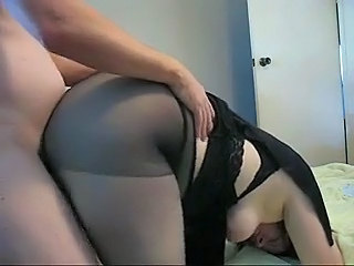 Chubby milf in nylons fucks doggystyle