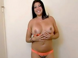Huge tits brunette hottie gets will not hear of pussy screwed close to doggy