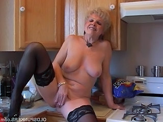 Solo Masturbating Kitchen Grandma Kitchen Sex Stockings