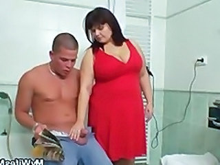Mom Handjob Bathroom