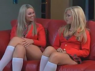 Two blondes in school uniform and teacher having hot lesbian...