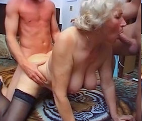 Threesome Blowjob Granny Cock