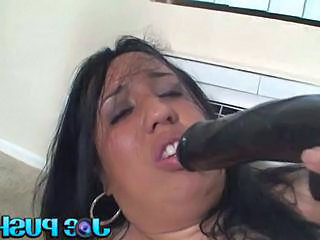 Chubby woman having fun with her sex toys