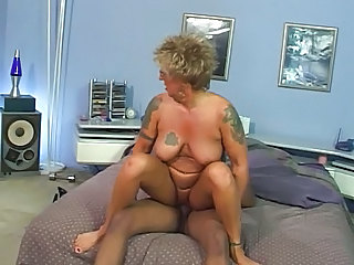 Tattoo Natural Riding Granny Stockings Pierced Nipples Riding Tits