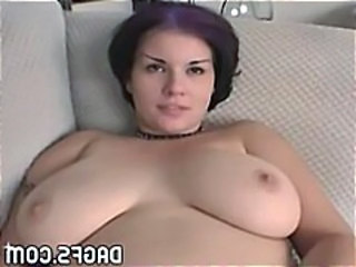 Chubby redhead licks her huge tits and gets pounded hard