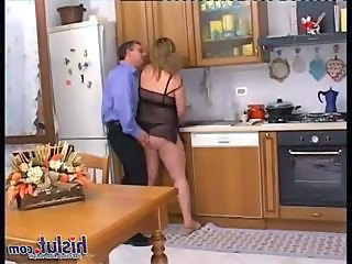 Scene one begins with a blonde haired mature MILF who happens to be a BBW with her large double D hooters and her totally shaved cock pit shes actually a great fuck especially when she bends over the kitchen table and you get to watch her gettin