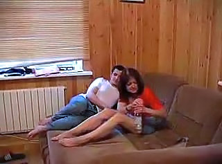 Drunk hubby and wife fucking on sofa till cumming on her ass.