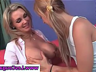 Blonde Bella Banxx sucks on a hot cougar's tits in lesbian scene
