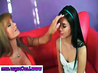 Lesbian teen makes out with cougar lesbian Darla Crane on the couch