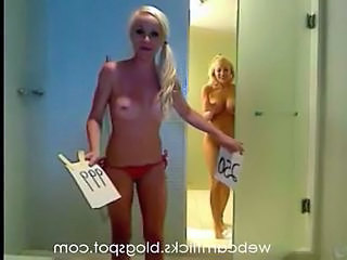 Blonde lesbians in shower on cam
