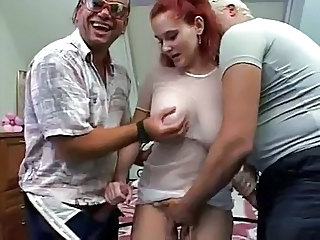 Fat girl redhead fucked by two men