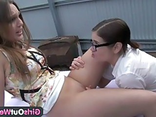 Video from: tubewolf | Abducted lesbian gets licked on the car tubes