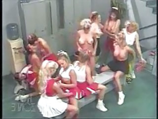 Many cheerleader babes playing in locker room tubes