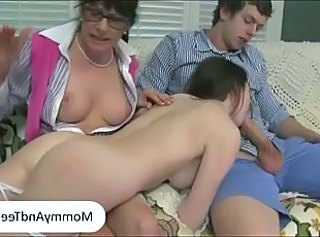 MILF caught her stepdaughter giving bj