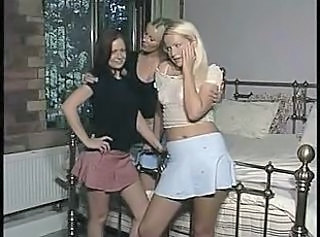 British lesbian threesome on the bed and then on the floor