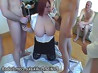 Huge Boobed Redhead Takes Cum On Her Tits
