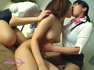 Asian Girl Getting Her Hairy Pussy Licked Fingered Nipples Sucked By 2...