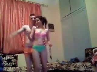 Arab girl and her hubby go from dancing to stripping to fucking