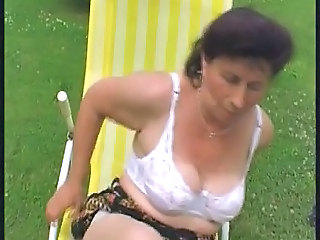 Granny fucks the pool cleaner