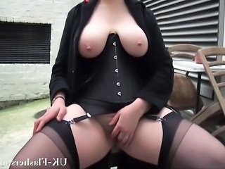 Video from: empflix | Bbw babe Alyss flashing pussy and masturbating in publi