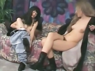 Retro hairy lesbians play with strapon