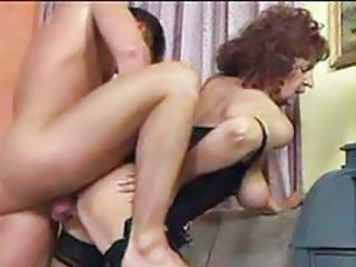Young cock penetrating the granny slut tubes
