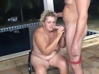 Pool boy butt fucks a big granny