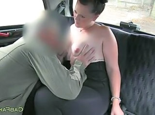 Fat amateur creampied in fake taxi